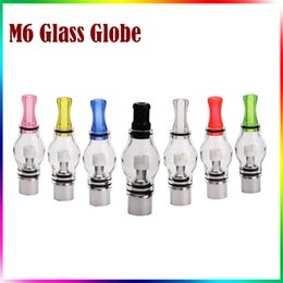 Wholesale Dry Clearomizer - Glass Globe Vaporizer M6 Vape Wax dry herb Vaporizer Pyrex Glass M6 Clearomizer Glass Tank 3ml 510 Thread Replaceable Coil Head Cartridges