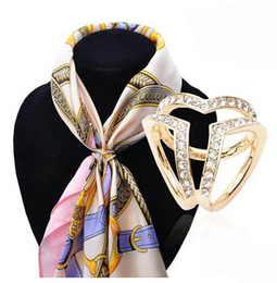 Wholesale gold rhinestone brooch buckle - Mix color fashion dull silver gold color alloy women's scarf buckle rhinestone crystal holder silk scarf buckle Valentine's day gift