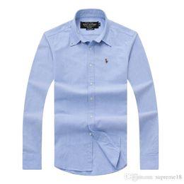 Wholesale Polo Dress Shirts - Wholesale 2018 autumn and winter men's long-sleeved Dress shirt pure men's casual POLO shirt fashion Oxford shirt social brand clo
