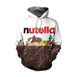 Wholesale couple winter pullover - -2017 Nutella Pattern Men&Women Hoodies Couples Casual Style 3D Print Personality Autumn Winter Sweatshirts Hoody Tracksuits Tops
