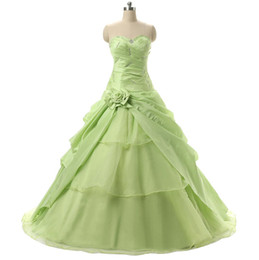 Wholesale Cheap Girls Dress Up - Eye-Catching Light Green Sweet 16 15 Girls Birthday Party Prom Ball Gowns With Ruffles Beaded Debutante Cheap Quinceanera Dresses In Stock