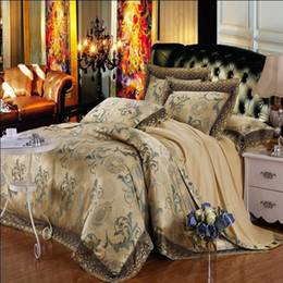 Wholesale lace luxury duvet sets - Wholesale-Princess Lace Bedding sets Home Textile Luxury 4pcs Jacquard Satin Duvet Cover Queen King Size Silk Bedclothes Bed Linen Cotton
