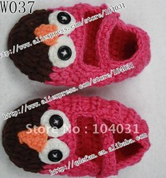 Wholesale Owl Crocheted Baby Shoes - Wholesale-Free shipping (10 pcs lot) 100% cotton crochet baby shoes and hats OWL shoes baby chirstma gift hand made shoes