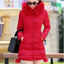blauer daunenmantel Rabatt Inspired Cotton Daunenjacke für den Winter mit  abnehmbaren großen Pelzkragen Warm Puffy Rot 6003a96180