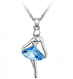 Wholesale Crystal Birthday Angels - JS N105 Ballet Girl Angel Necklace White Gold Plated Crystal Turquoise Jewelry Elegant Women Accessories Daughter Birthday Gifts
