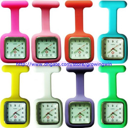 Wholesale Nurse Medical Silicone Watch - 2015 unisex Silicone Jelly Candy Rubber nurse watch square dial doctor medical quartz FOB pocket watches with pin 12 colors 100pcs lot