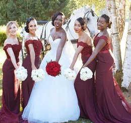 2017 African Burgundy Country Style Bridesmaid Dress Cheap Satin Garden  Formal Wedding Party Guest Maid of Honor Gown Plus Size Custom Made b260fe238075