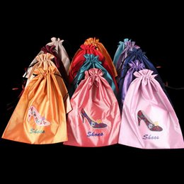 Wholesale Large Women Shoes Wholesale - Women Large Satin Drawstring Pouch Shoes Bag Travel Storage Reusable Gift Packaging Bags Embroidery heels Bra Underwear Sock Pouch wholesale