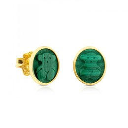 Wholesale Color Stone Earrings - New 18k Gold Silver Stainless steel titanium Green Black Agate natural stone jewelry women stud panda earring 3 color no fade El oso pendien