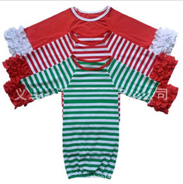 Wholesale Cotton Sleeping Gown - 29colors Infant sleep cloth Baby girl boy Cotton Gowns Ruffle Gown Long Sleeve sleep bag for 0-2T Christmas red green stripe deer Xmas
