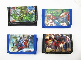 Wholesale Canvas Wallets Wholesale - Children wallet The Avengers super heros boys and girls Purse cartoon Iron Man Hulk kids wallets C001