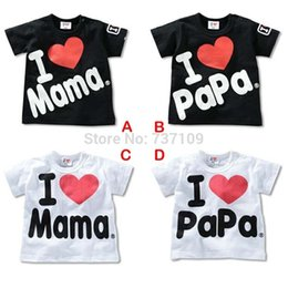 Wholesale Melee Clothing - Wholesale-2015 NEW MeLee 100% Cotton I love Mom Dad T-shirt Baby Romper Gifts Baby Clothes B001