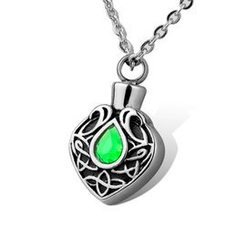 Wholesale Heart Knot Necklace - Stainless Steel Celtic Knot Green Rhinestone Waterproof Cremation Urn Necklace Ash Memorial Jewelry with gift bag and chain