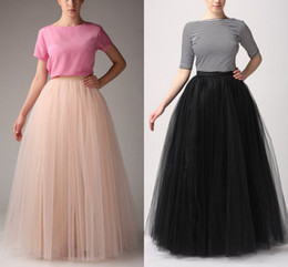Wholesale Long Black Skirts Fashion - Fashion Simple Women Skirts All Colors 5 layer Floor Length 2015 Adult Long Tutu Tulle Skirt A Line Plus Size Free Shipping Long Skirts