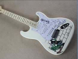 Wholesale Cream White Guitar - Factory Customized Cream White Electric Guitar with Maple Fretboard and Pattern on Body and Can be Changed as Request