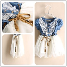 Wholesale Lantern Skirts Wholesale - Clothes Baby Clothes Wholesale Summer Dress Bull-Puncher Skirt Girls Lace and Joining Together Dress Kids Summer Kids Clothes High Quality