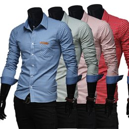 Wholesale Long Sleeve Red Formal For Men - 2016 Fashion Men Formal Dress Shirts Plaid Cardigan Long Sleeve Cool Slim Fit Business Shirts For Men Cotton Luxury Men Shirt J160204