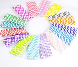 Wholesale Colored Paper Straws - Party supplies creative disposable striped paper straws Environmentally friendly disposable colored paper straw Christmas Halloween supplies