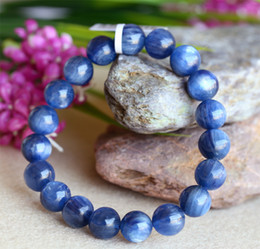 Wholesale Natural Blue Kyanite - Discount Wholesale Natural Blue High Quality Kyanite Crystal Men's Stretch Finish Bracelet Round Beads 10mm 03832