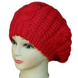 Wholesale Cute Baggy Women - S5Q Women Knitting Beret Cap Cute Wool Crochet Baggy Lady Winter Warm Soft Beanie Hat AAADYX