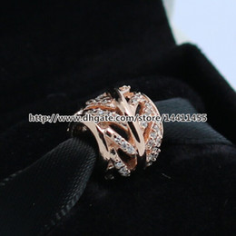 Wholesale Sterling Silver Micro Pave Necklace - 925 Sterling Silver & Rose Gold plated Micro Pave Feather Bead Fits European Jewelry Bracelets & Necklaces Necklaces & Pendants