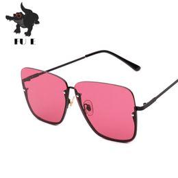 Wholesale Metal Sunglasses Big Box - FU E New fashion sunglasses ladies half box square cut edge sunglasses men big frame metal sunglasses UV400 1095