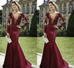 Wholesale White Dress Bride Photos - Zuhair Murad Elegant Evening Dresses With Long Sleeves 2015 Burgundy Mother of the Bride Dresses Beaded Deep V Neck Formal Arabic Dresses