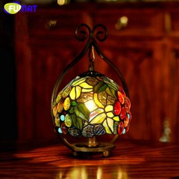 Wholesale Painting Small Rooms - FUMAT Stained Glass Table Lamps Bedside Small Table Lamp Rose Grape Glass Art Shade Desk Lamp Hotel Bar Living Room Gift Light Fixtures