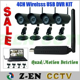 Wholesale Usb Wireless Cctv Camera System - New 200M DIY 2.4GHz Wireless 4 Channel Kameras with Mini Digital USB DVR ,CCTV Camera Security System Free Shipping Via DHL