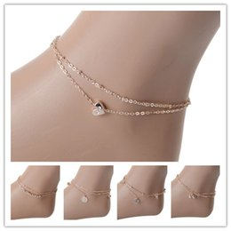 Wholesale Cheap Beach Sandals - 5PCS Sexy Crystal Double Layer Golden Hollow Flower Ankle Chain Anklet Bracelet Beach Foot Sandal Jewelry Gift Cheap Free Ship