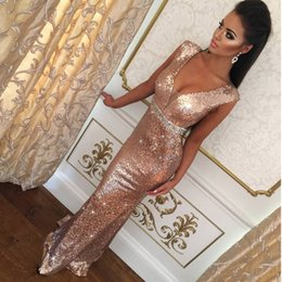 Wholesale Pink Carpet Roses - 2018 Gorgeous Sequins Mermaid Long Evening Dresses Rose Gold Prom Gowns Open Back Party Dresses Evening Wear Crystals Women Formal Gowns