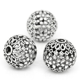 Wholesale Spherical Beads - Ancient silver hollow spherical beads flowers silver plated copper alloy loose beads diy handmade jewelry accessories wholesale 50piece