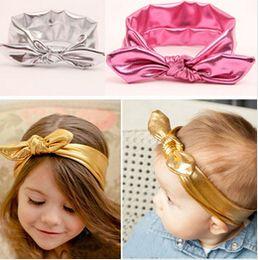2019 turbantes de criança 30% de desconto New Baby Girls Estiramento Elastic Criança Da Orelha de Coelho Turbante Nó Arco Hairband 7 cores Headband Headwrap10pcs turbantes de criança barato