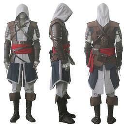 Wholesale Costumes Xxl - Assassin's Creed IV 4 Black Flag Edward Kenway Cosplay Costume Whole Set Custom Made Express Shipping
