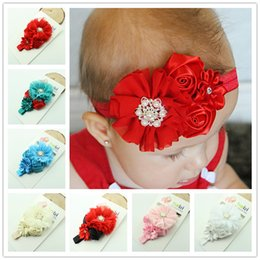 Wholesale Baby Flower Headband Diamond - 2015 girl rose flower diamond rhinestone lace headbands Baby Children's Headbands party Christmas hair jewelry Photography props gifts D22M