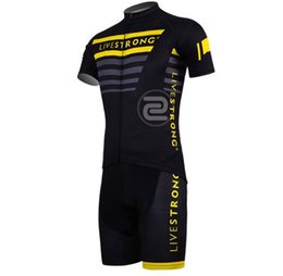 Wholesale Men Cycling Jersey Sleeve - Wholesale-NEW Men short Sleeve Cycling Jersey LIVESTRONG Short Sleeve Sportswear Cycling Clothing Suit Summer Bicycle Clothing Set