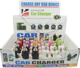 Wholesale Mini Usb Car Charge - mini usb car charger 1000mA with display box & colorful 24pcs in a box charge for any smart phone mp3 mp4