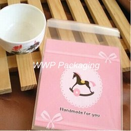 Wholesale Plastic Egg Packaging - Self Adhesive 10*10cm Wooden Horse Plastic Pack Cooking Package Pouches For Baked Cookie Food Bread Egg Tarts Pack 500Pcs  Lot