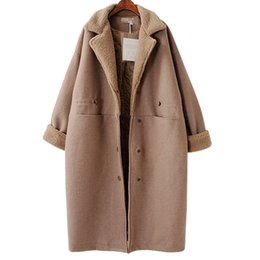 Wholesale nylon down coat - Winter Loose Coat Female 2018 Autumn Casual Turn-down Collar Pockets Button Solid Color Thick Women Outwear KA04507