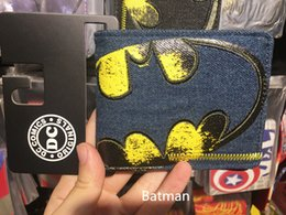Wholesale Grey Designer Jeans - Anime Wallets New Designer Jeans Wallet Batman Superman Denim Wallets Young Boy Girls Purse Small Money Bag