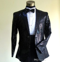 Wholesale Pcs Images - 2016 High Quality Custom made men tuxedos The star Black sequins Two pcs Wedding Party Dress men's wedding suits tuxedos suit for men