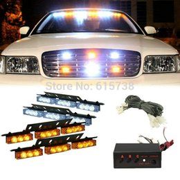 Wholesale Red Led Grill Lights - 4 * 9 LED white green amber red blue changable color Cars Truck Led Flash Strobe Lights 12V Car Truck Grill Emergency Flash Strobe