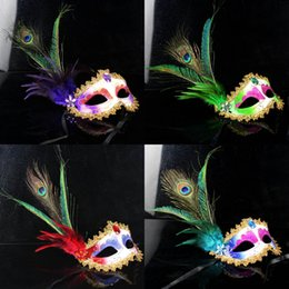 Wholesale Wedding Pheasant Feathers - 2015 Party Masks Venetian Masquerade Pheasant Peacock Feather Masks Half Face Masks Ball Party free shipping