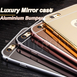 Wholesale Metal Phone Cases - 2016 New arrival!Luxury Mirror Gold Metal Aluminium Bumper Hybrid Hard Phone Back Case Cover for iPhone6 5s 5 iphone 6 plus