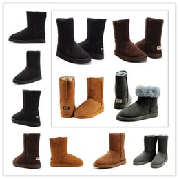 Wholesale Cheap Black High Heeled Boots - Wholesale 2018 man woman Australia Classic snow Boots High Quality WGG boots cheap winter boots fashion shoes Brown Khaki Black Grey