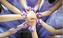 Wholesale Cheap Wedding Bouquets - Romantic Colurful Wedding Bridesmaid Wrist Corsages Elegant Wedding Accessories Bouquet Party Supplies Bridal Flower Wrist Headdress Cheap
