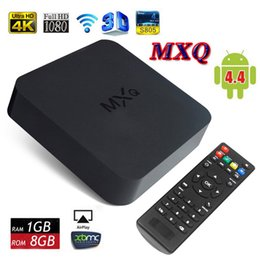 Wholesale Mx Android Tv Boxes - MXQ TV Box MX Android 4.4 Kitkat 4K Amlogic S805 Quad Core WiFi 1GB 8GB LAN Airplay Miracast H.265 Smart Google IPTV Dropshipping
