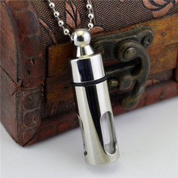 Wholesale Keepsakes Bottle - Stainless Steel Cylinder Tube perfume bottle Cremation Glasee Jewelry Keepsake Memorial Urn Necklace Ash Holder S M L XL XXL Size