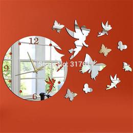 Papillon horloge murale design moderne en Ligne-Fée avec Papillon Miroir Horloge Murale 17.7''H Acrylique Miroirs diy Horloge Murale Design Moderne Décoration de La Maison