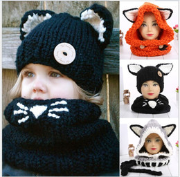 Wholesale Crochet Hats For Girls - Cute Boys Girls Fashion Fox Cat Ear Winter Windproof Hats And Scarf Set For Kids Knitted Crochet Headgear Soft Warm Hat Baby Winter Beanies